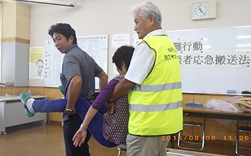 災害時要支援者応急搬送訓練1